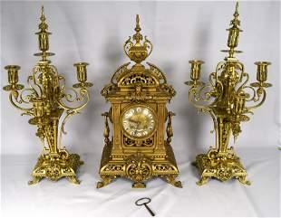 19TH ROCOCO GILT FRENCH CLOCK GARNITURE SET
