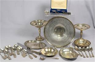 ASSORTED STERLING & COIN SILVER SPOONS AND ETC.