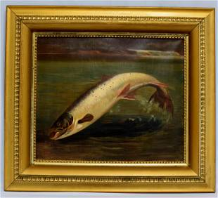 J. BREEN TROUT OIL PAINTING
