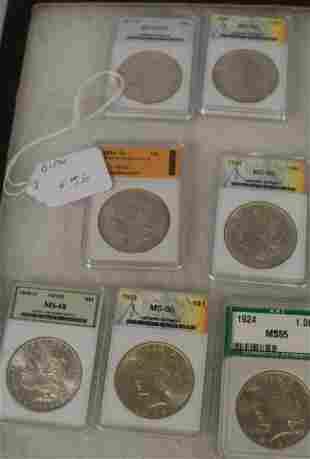 7 US GRADED SILVER MORGAN & PEACE DOLLARS