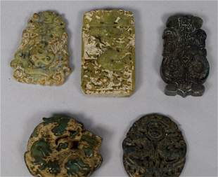 FIVE ANCIENT CHINESE JADE CARVINGS