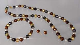 STRAND OF MULTI COLORED FRESHWATER PEARL JEWELRY