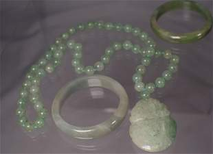 BEADED JADE & CARVED PENDANT WITH TWO BRACELETS