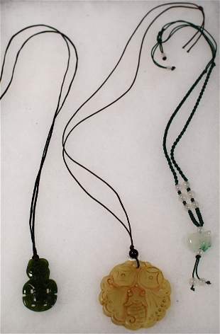 CHINESE CARVED JADE NECKLACES