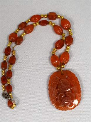 CARVED JADE OR CARNELIAN GOLD BEADED NECKLACE