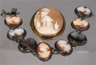 SCENIC CAMEO BROOCH AND CAMEO BRACELET