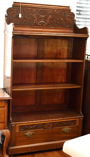 19TH VICTORIAN MAHOGANY CARVED BOOKCASE