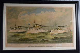 CURRIER & IVES THE WHITE SQUADRON PRINT