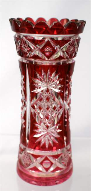 AMERICAN BRILLENT CRANBERRY CUT TO CLEAR VASE