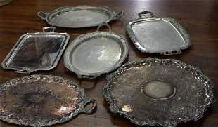 LARGE GROUPING OF SILVER PLATED TRAYS