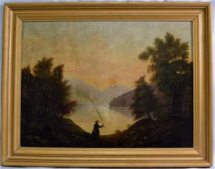 19th HUDSON RIVER SCHOOL PAINTING WITH FISHERMAN