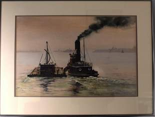 WATERCOLOR ON PAPER OF NEW YORK HARBOR SCENE