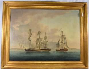19TH BRITISH SCHOOL SHIP AT BATTLE PAINTING.