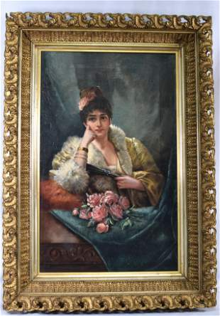 EUROPEAN SCHOOL OF WOMAN WITH PINK ROSES PAINTING