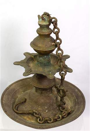 EARLY PERSIAN BRONZE GREASE LAMP CHANDELIER