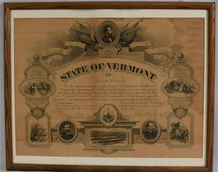 CIVIL WAR VOLUNTEER CERTIFICATE STATE OF VERMONT