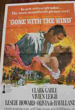 (4)1968 RE-RELEASE GONE WITH THE WIND MOVIE POSTER