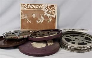(4) THREE STOOGES 16MM MOVIE SHORTS & LOBBY CARD