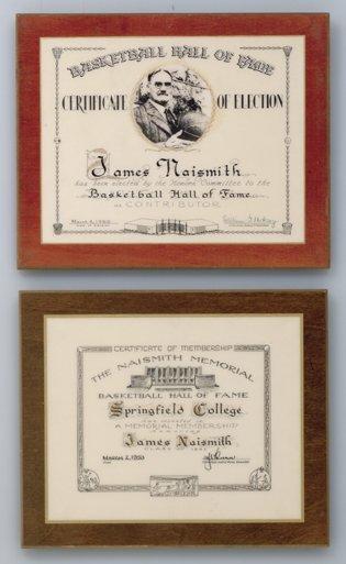 1: 1953 & 1959 James Naismith HOF Induction Plaques