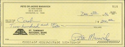 11: 1986 Pete Maravich Personal Twice Signed Check