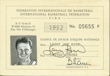 18: 1992 Larry Bird Autographed FIBA Dream Team Pass