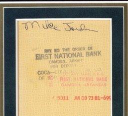 107: 1972 Framed Michael Jordan Coca-Cola Signed Check - 2