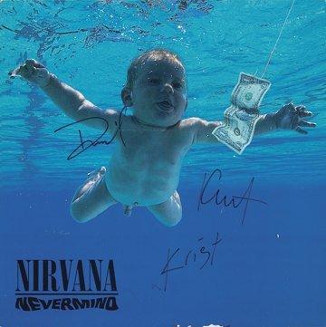 """146: 1991 Nirvana """"Nevermind"""" Signed Album Flat"""