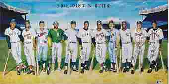 196: 500 Home Run Club Autographed Framed Poster