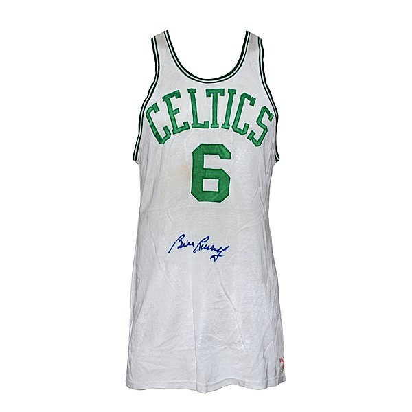 6: Mid 60s Bill Russell Celtics Game-Used Home Jersey