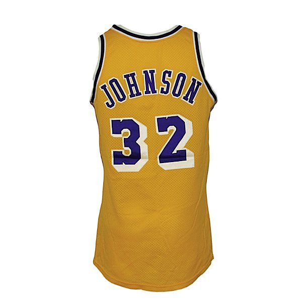 11: Ca 84 Magic Johnson LA Lakers Game-Used Jersey