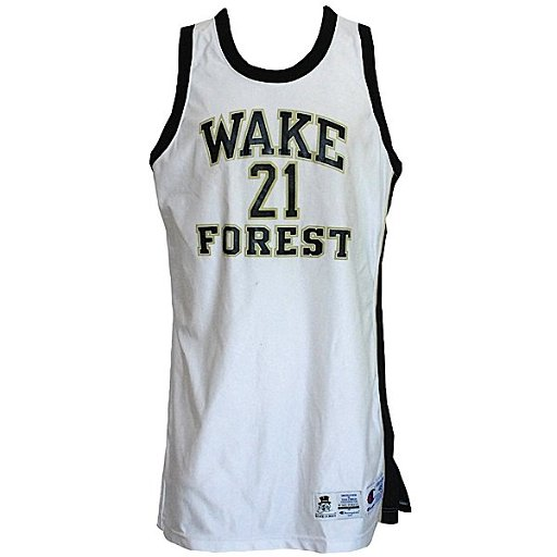 cheaper 5df45 4fc49 165: 94-95 Tim Duncan Wake Forest Game-Used Home Jersey