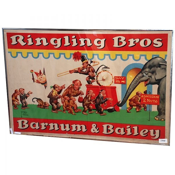 6: 1943 Framed Ringling Brothers Circus Poster