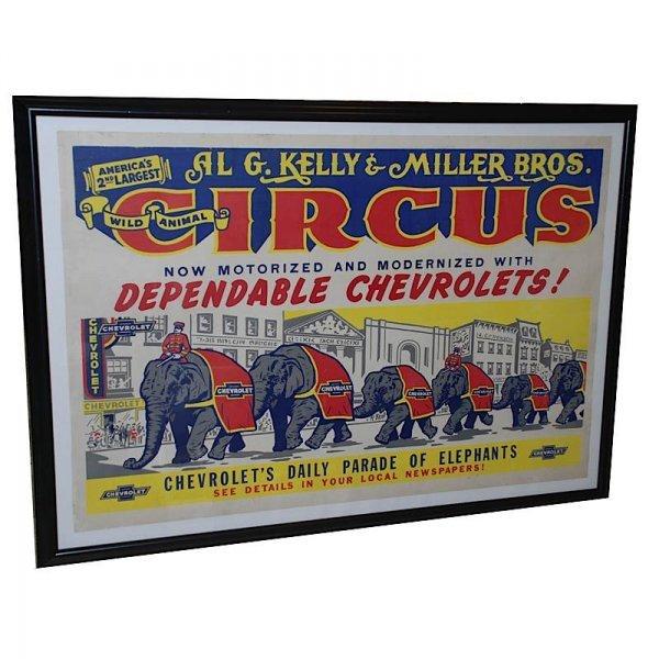 """14: Ca 1950 Framed """"Al G. Kelly & Miller Bros. Circus"""
