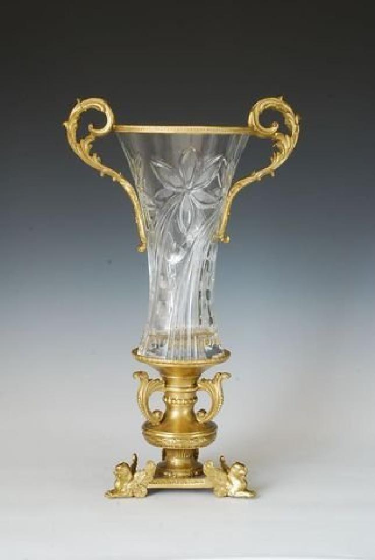 Bronze and Floral Pattern Faceted Crystal Vase