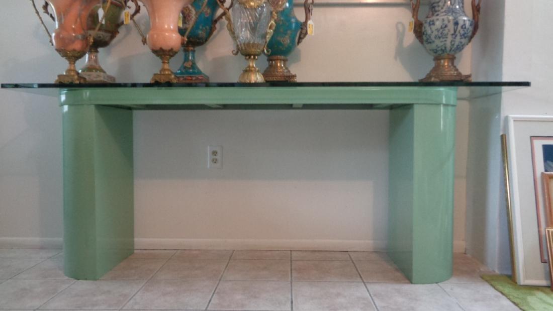 Long Light Green Formica Glass Top Sofa Table
