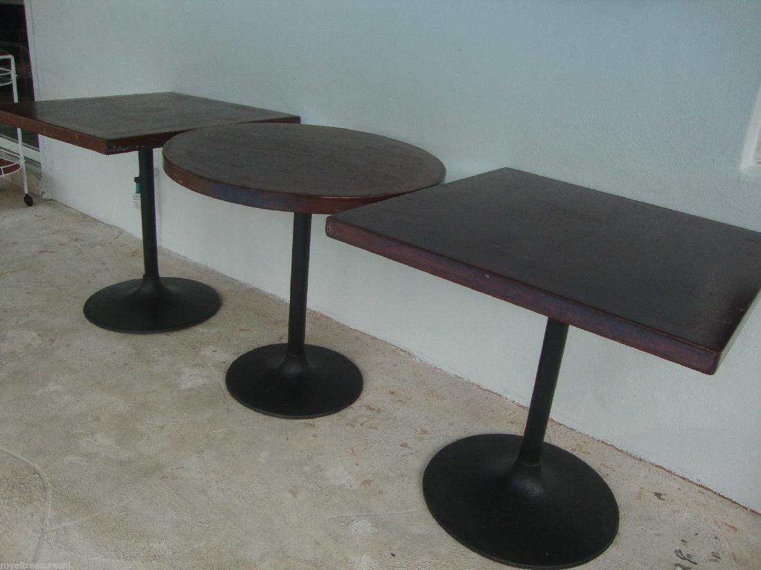 3 Cast Iron Pedestal Wood Top Table