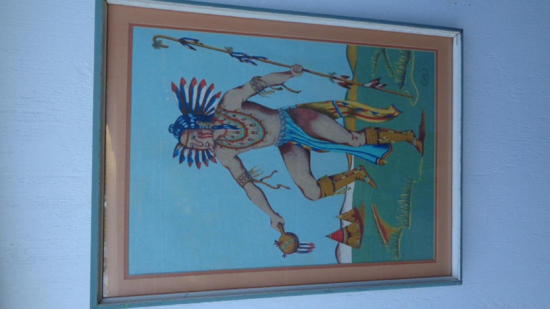 R.C Wolf -79 Sined Native Indian Original Painting