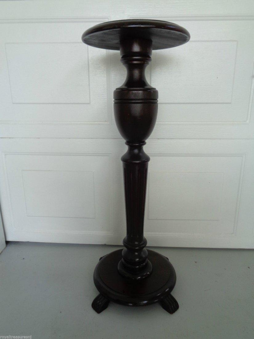 Antique Vintage Carved Dark Wood Column Pedestal Sculpt
