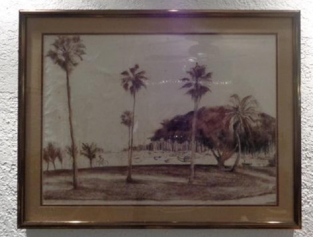 "Original ""South Florida""Chalk Pastel Painting,Monogram"