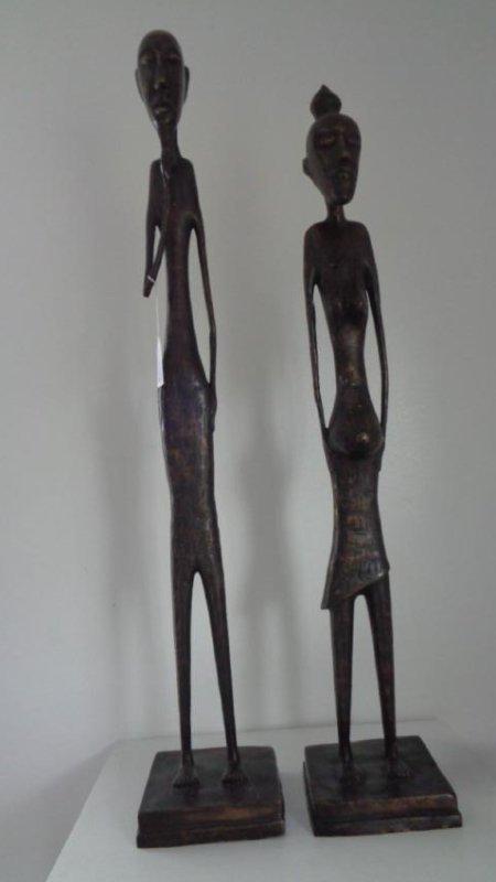 "2 Large Bronze Statues - Male & Female 41""H"