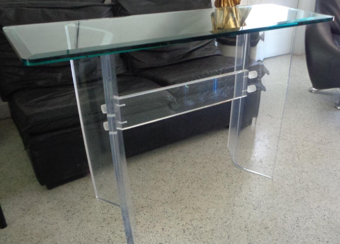 VINTAGE LUCITE MID-CENTURY MODERN GLASS TOP CONSOLE / S