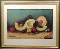 Vintage Original Signed Still Life Fruit Pastel by Fern