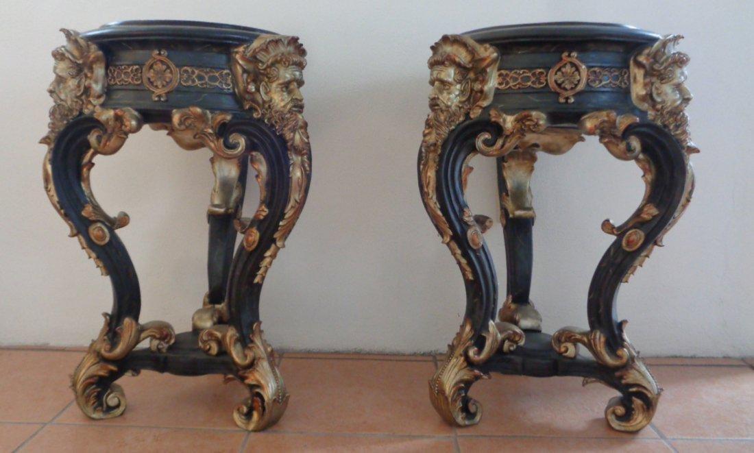 Pair of Black Marble Top Table Pedestal