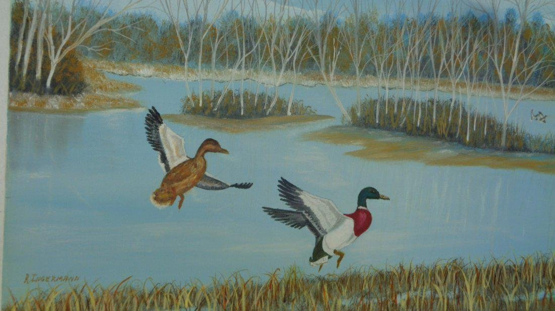 "R. Interman""Mallards on The wing"" Signed Oil Painting"