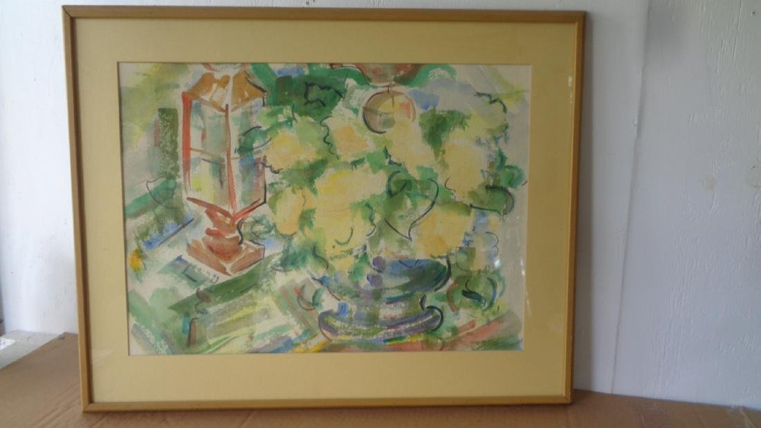 Mid Century Original Abstract Watercolor Painting