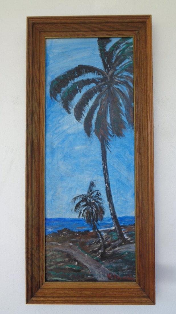 Original Florida Landscaping Painting Signed, Painting: