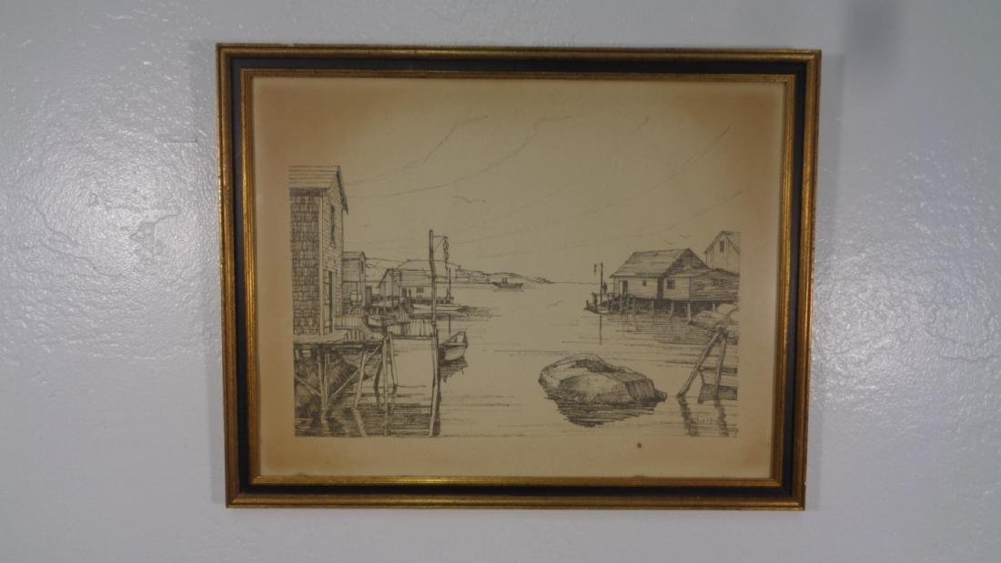 Original Drypoint Etching Dock and Boat  signed