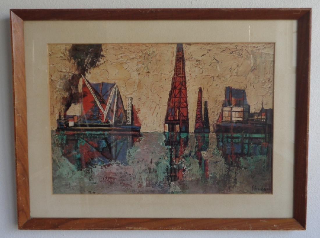 Vintage signed Print. Wood Frame some scratch on frame