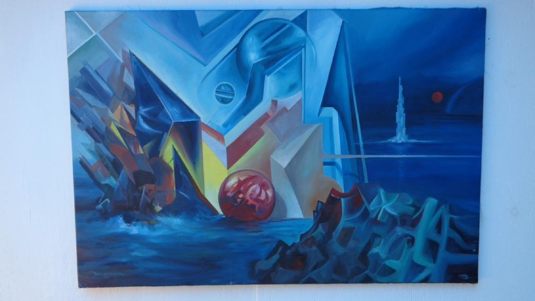 "Dago E Seguel Surreal Original Oil Painting . 41""x 31"""