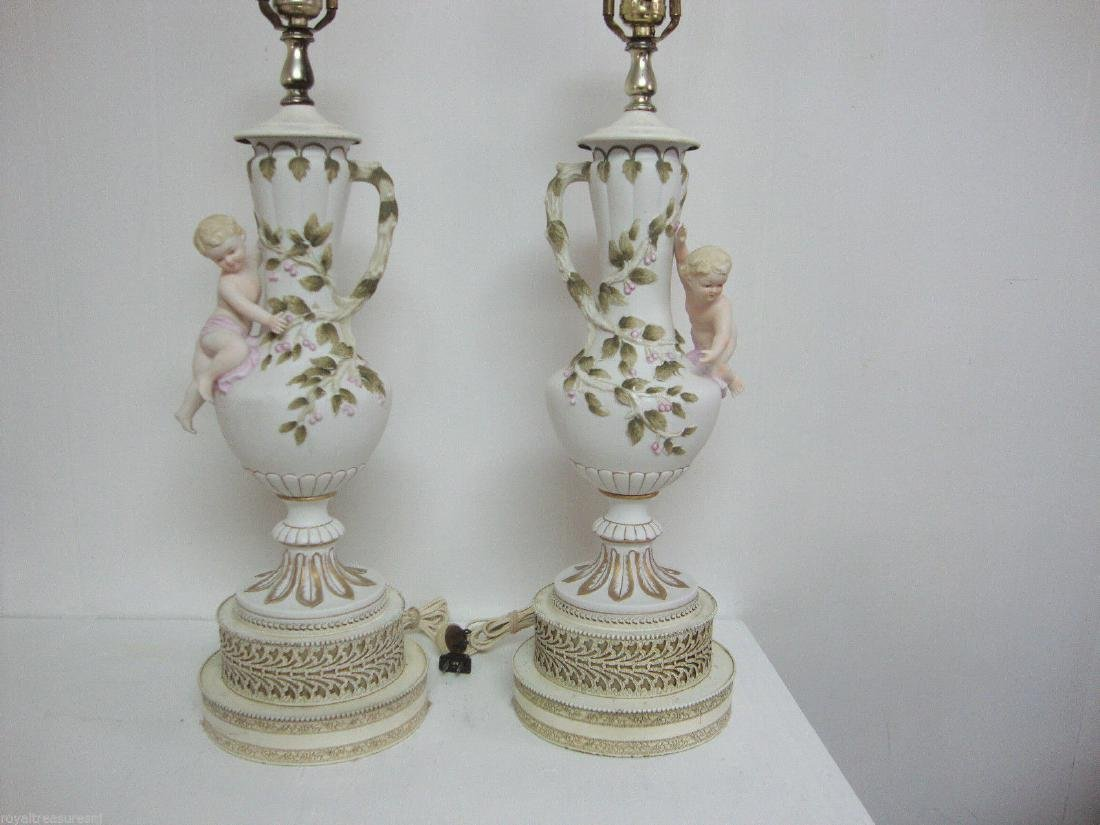 Cherub Floral Handle Hand Painted TABLE LAMP